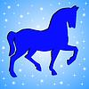 Силуэт лошади на синем фоне | Иллюстрация
