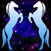 Silhouetten von zwei Pferde auf Hintergrund Sterne Galaxie | Stock Illustration