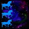 Силуэты трех конь на фоне галактики звезды | Иллюстрация