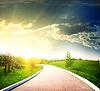 Asfaltowej drogowego na słońce | Stock Foto