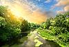 Spokojna rzeka o zachodzie słońca | Stock Foto