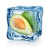 Avocado in Eiswürfel | Stock Foto
