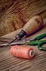 Instrumente der Handwerker Kleidung und Faden | Stock Foto