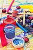 Zubehör und Verbrauchsmaterialien für die Erstellung | Stock Foto