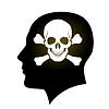 Schädel und Knochen in Kopf