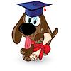 Cartoon Hund ist Absolvent