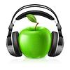 Realistische Kopfhörer und grünem Apfel