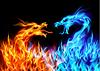 Синий и красный огонь драконы | Векторный клипарт