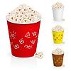 Popcorn in lustigen bunten Gläser