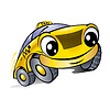 Vector clipart: Car with laughing face. Taxi