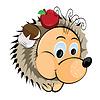 Igel mit Apfel und Pilz