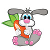 Kaninchen mit riesigen Karotte