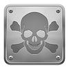 Metall-Tablette mit Totenkopf und gekreuzten Knochen