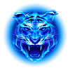 Head of blue fire tiger | Stock Vector Graphics