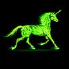 Green fire Einhorn