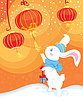 Neugier weißes Kaninchen und chinesischen Laternen