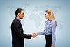 Woman and man shaking hands | Stock Foto