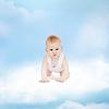 ID 3935656 | Smiling baby sitting on cloud | Foto stockowe wysokiej rozdzielczości | KLIPARTO