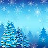Winter-Hintergrund mit Tanne und Schneeflocken