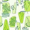 Green floral retro seamless pattern | 向量插图