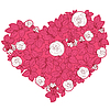 花卉风格的情人节心 | 向量插图