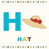 Alfabet dla dzieci, litery H i kapelusz samodzielnie | Stock Vector Graphics