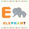 Alfabet dla dzieci, litery E i izolatu słonia | Stock Vector Graphics