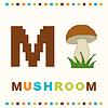 Alfabet dla dzieci, litery M i grzybów wyizolowanych | Stock Vector Graphics