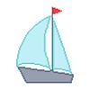 Yacht auf weißem Hintergrund