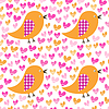 Seamless pattern with birds and hearts | Stock Vector Graphics