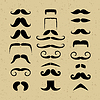 Set mustache silhouettes on a retro background   Stock Vector Graphics