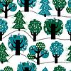 Nahtlose Muster mit bunten Bäumen