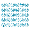 Zestaw uśmieszków w różnych emocji i nastrojów | Stock Vector Graphics