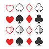 Ustaw kier, trefl, pik i dimonds ikon, karty su | Stock Vector Graphics