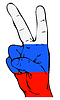 Friedenszeichen der russischen Flagge
