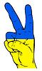 Friedenszeichen der ukrainischen Flagge
