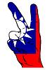 Friedenszeichen der Taiwan-Flagge