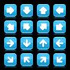 Blau glänzend Web-Tasten mit weißem Pfeil Zeichen