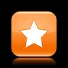 Orange glossy Web 2.0 Button mit Sternzeichen