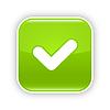 Grün glänzend Web 2.0 Button mit Häkchen