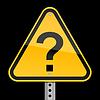 Gelbe Straße Warnzeichen mit Fragezeichen