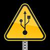 Verkehrswarnung mit USB-Symbol