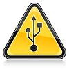 Warnzeichen mit USB-Symbol