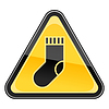 gelbe Warnzeichen mit Socke Symbol