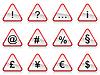 Set von roten Schildern mit Symbolen