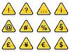 Set von gelben Schildern mit Symbolen