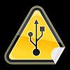 Aufkleber gelbe Gefahr Warnzeichen mit USB-Symbol
