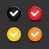 Colored Web 2.0 Buttons mit Häkchen Zeichen
