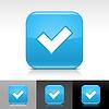 Blue glossy Web Buttons mit Häkchen Zeichen