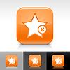 Orange glossy Web Button mit Sternzeichen